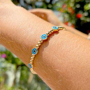 Bracelete Inteiro Olho Grego Esmalte Banho de Ouro 18K